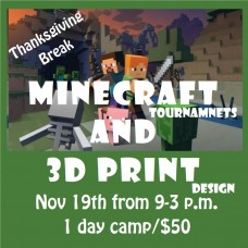 11/19 Minecraft Tournaments & 3D Print Design